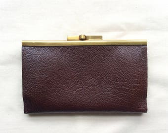 Vintage ladies leather wallet purse , brown wallet, brown purse, 70s.