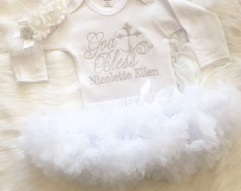 Custom After Christening Outfit-After Party Outfit--Baptism Shirt-Baby Girl Pettiskirt Outfit-Girls FULL OUTFIT