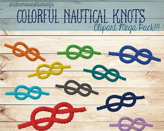 80% OFF SALE Nautical Knot Clipart, 300 dpi Png file, nautical clipart, commercial use, colorful rope clipart, scubamousestudiosjr