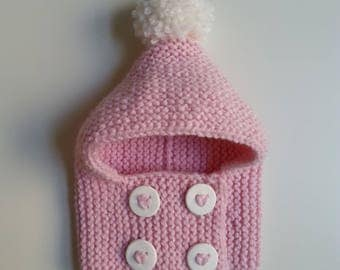 Hat(Cap) pink woolen hand-knitted baby from 0 to 2 years old with white buttons and pompom