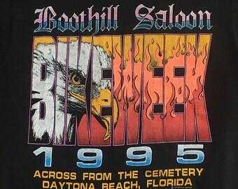 1995 Bike Week Boothill Saloon Daytona Beach Eagle Pocket Tee Tshirt Large