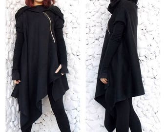 ON SALE Asymmetric Extravagant Black Coat,  Black Extravagant Coat, Loose Black Hooded Jacket, Black Hoodie TC03 by Teyxo