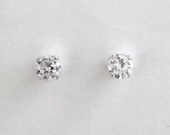 3/4 carat imitation diamond solitaire stud earrings, cubic zirconia solitaire stud earrings, April birthstone, cz sterling silver studs