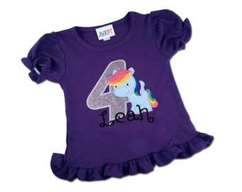 Girl's Pony Birthday Shirt with Rainbow Pegasus, Number and Name