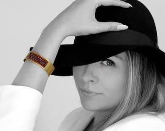 SUMMER SALE -  Beaded bracelet,handmade bracelet,gold bracelet,gold cuff bracelet,statement bracelet,wide bracelet,garnet bracelet