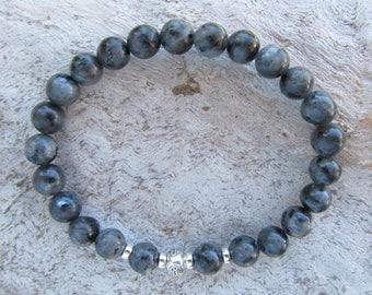 Larvikite or Black Labradorite Stone Gemstone Sterling Silver 'Om' Men's Stretch Bracelet