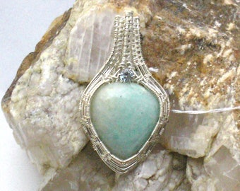 Amazonite  with Blue Zircon Handmade Wire Wrapped Pendant