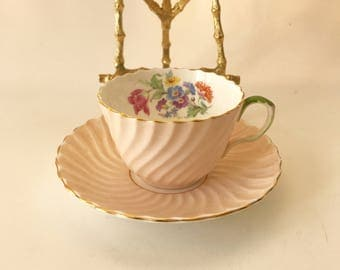 Aynsley England bone china tea cup & matching saucer made in England