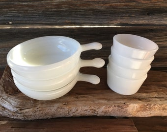 Glasbake, Chili and Custard Bowls,  (7 Pc), Vintage Kitchen, Home and Living, Milk Glass, Serving bowls,