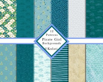 INSTANT DOWNLOAD - Pirate Girl matching plain backgrounds, nautical patterns, pirate patterns, pirate backgrounds, pirate digital paper
