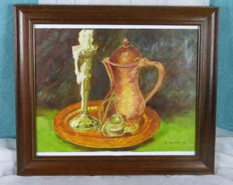 Vintage French Still Life Painting - Jug and Candle Painting - French Acrylic Painting - Framed & Signed by M Gilbert - Vintage French Art