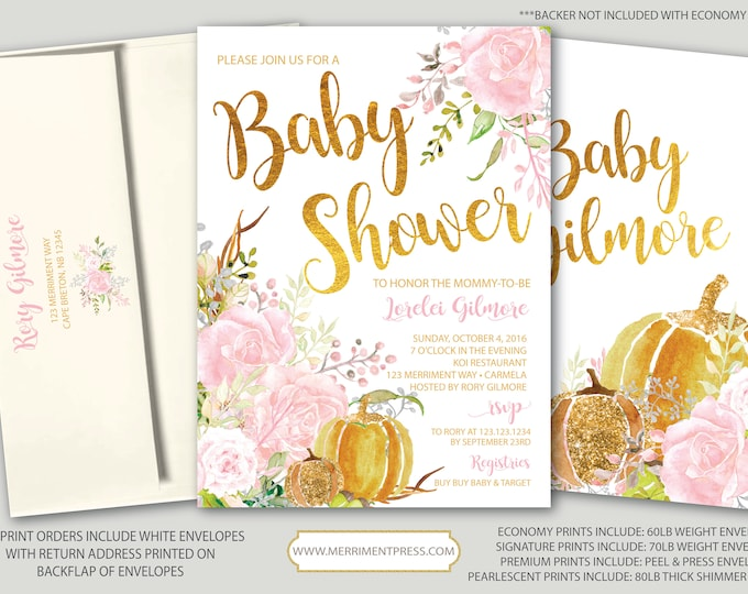 Fall Baby Shower Invitation // Pumpkin Baby Shower // Floral // Pink // Roses // Gold // Blush // Watercolor // CARMEL COLLECTION