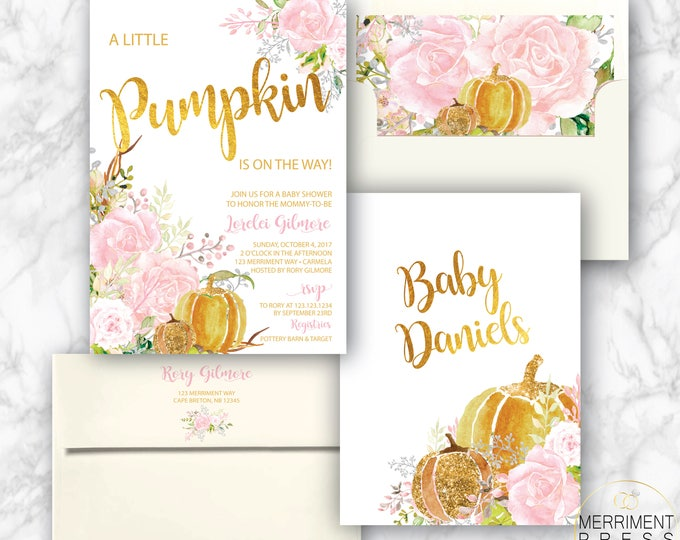 Pink Pumpkin Baby Shower Invitation // A little pumpkin is on the way // Fall Baby Shower Invitation // Gold Foil // CARMEL COLLECTION