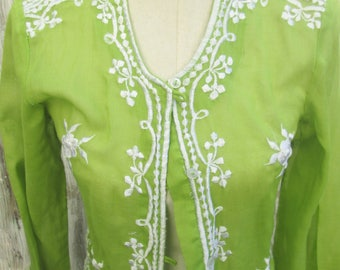 Vintage Lime Green Embroidered Tunic Top, Cotton Kimono Asian Button Up