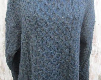 Vintage Blue Green Irish Wool Fishermans Sweater Tunic
