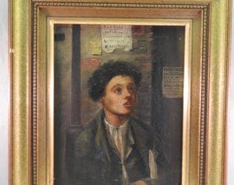 Portrait of a young boy,oil on canvas 19th Century ,gilt framed