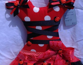 Ladybug theme wall hanging and hair accessory organizer, holds bows, clips, headbands, and more. Handmade ready to ship