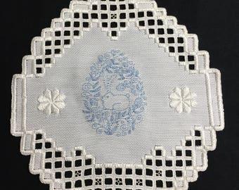 Hardanger Bunny Rabbit Doily Embroidery