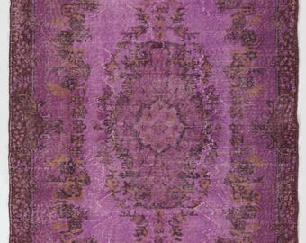 "Overdyed Rug 4' x 6'9"" (123 x 206 cm) Turkish Handmade Vintage Rug, Purple Overdyed Rug"
