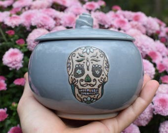Sugar Skull Jar, Cool Covered Jar, Day of the Dead Jar, Storage Canister, Salt Keeper, Sugar Keep, Spice Jar, Ready to Ship, Lidded Jar