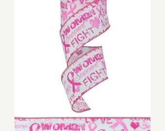 """SALE 2.5""""x10yd Breast cancer ribbon, breast cancer wired ribbon, ribbon, hope ribbon, wired ribbon, breast cancer"""