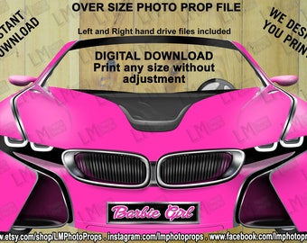Barbie Inspired BMW i8 Concept Car Prop File, INSTANT Download, Big Car Photo Prop, Barbie Party Photobooth, DIY, printable, Do it Yourself