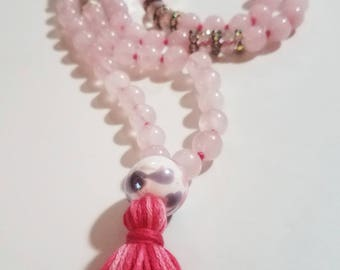 Rose Quartz Mala Tassel Necklace