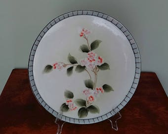 Japanese Porcelain Vanity Tray Hand Painted Flowers Pink Blossoms