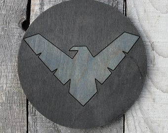 Nightwing Wood Coaster | Rustic/Vintage | Hand Stained and Glued | Comic Book Gift | Jason Todd