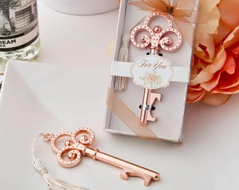 Rose Gold Vintage Design Skeleton Key Bottle Opener - Wedding Bridal Shower Party Favor 20-100 Qty  FC4244