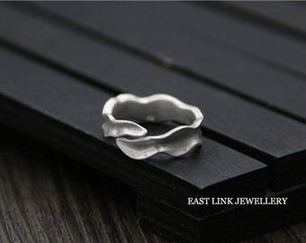 925 silver unique wave band ring size adjustable by East Link Jewellery