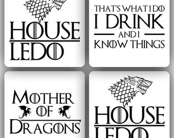 Custom Game of Thrones Coasters, Set of 4, Tumbled Marble, Gift Ideas, GoT, Dragons, tv shows, Mancave, Birthday Gift