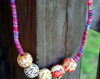 Boho Hand Painted Wooden Bead Necklace