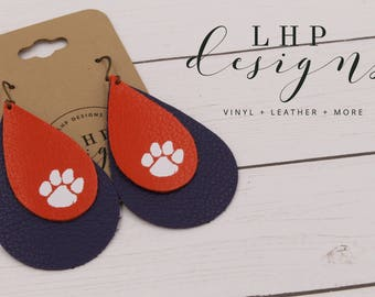 Clemson Layered Orange and Purple Leather Earrings with White Paw