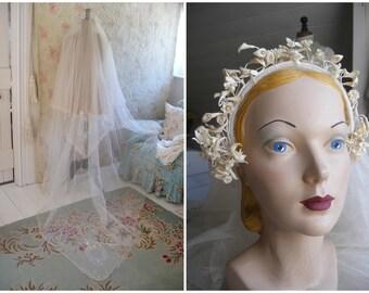 1930s wax flowers headdress & veil