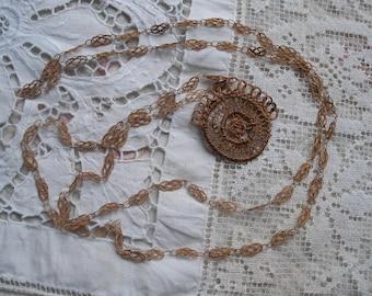 Antique staw work necklace