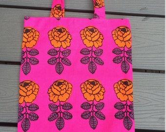 Vihkiruusu Wedding Rose tote bag, pink, orange Finland, handmade from Marimekko cotton