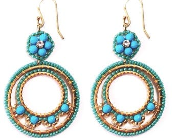 Turquoise Circle Earrings Birthstone Summer Party Gift Idea for Sister Unique gifts for Girlfriend, Handmade Gemstone Beaded Jewellery