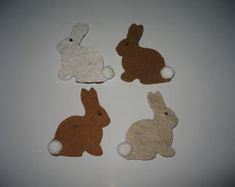Four Bunny Rabbit Felt Covered Magnets with Pompom Tails