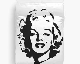 Duvet Cover, Marilyn Monroe, Black and White Bedding, New Apartment Decor, Dorm Room Decor, King Duvet Cover, Queen, Twin, Gift for Her