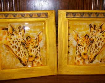 Set of two framed family giraffe