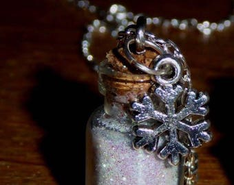 Snow in a bottle necklace