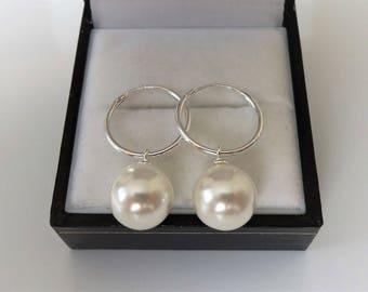 Sterling Silver Sleeper Hoop & Faux Shell Pearl Drop Earrings.