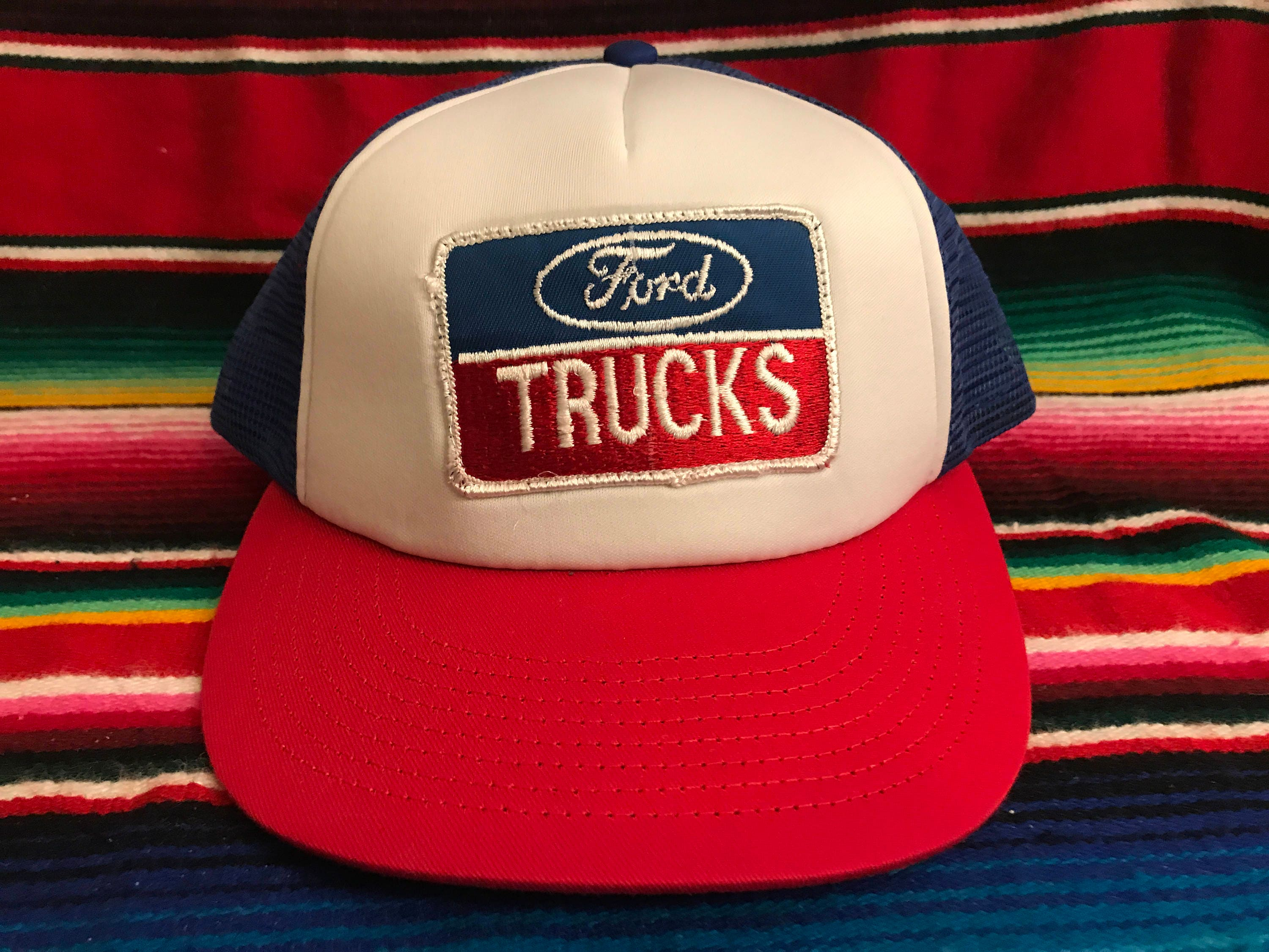 d02793b1fd2 VTG Ford Trucks patched Red White and Blue Mesh Trucker snapback hat