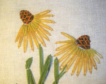 Vintage Embroidery of Cone Flowers Framed