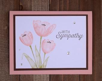 Sympathy Greeting Card, Sympathy Card, Floral Sympathy Card, Pink Tulip Sympathy Card, Floral Greeting Card
