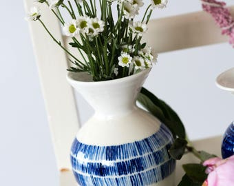 Stoneware Vase decorated with Cobalt Oxide