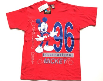 Vintage 90s MICKEY mouse t shirt mickey unlimited Jerry Leigh 199 deadstock t shirt one size fits all xl L mickey mouse t shirt red cotton