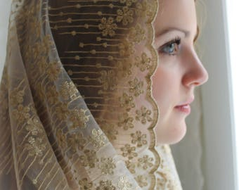 Evintage Veils~ Stella Maris Gold/Ivory  OR Gold/Black Embroidered  Traditional Vintage Inspired Infinity Shape Mantilla Chapel Veil
