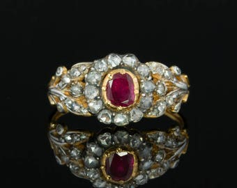 Napoleonic French natural ruby and diamond flower cluster ring Georgian era